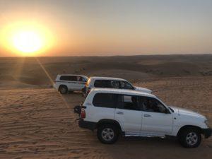 Sonnenuntergang beim Dune Bashing
